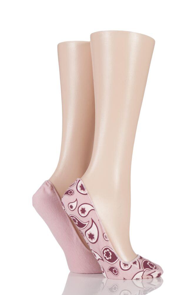Ladies 2 Pair Elle Patterned and Plain Printed Shoe Liners