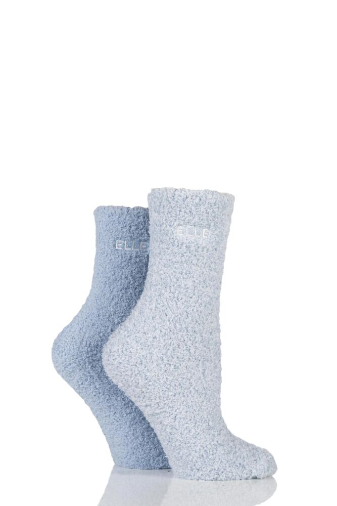 Ladies 2 Pair Elle Two Tone Soft and Cosy Bed Socks