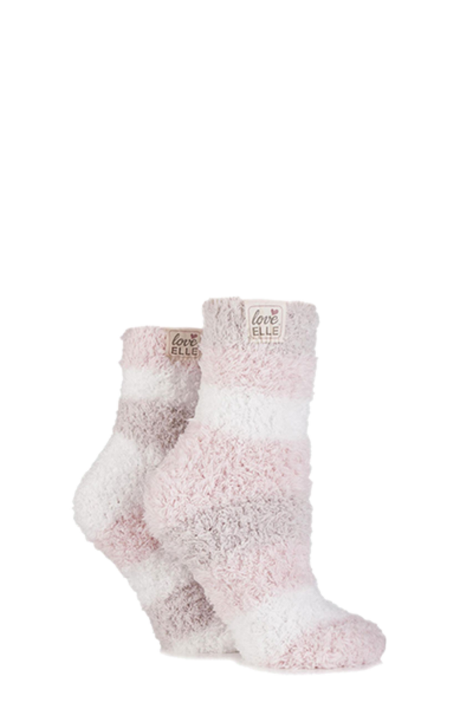 Elle Fluffy and Cosy Blissful Bed Time Socks Powder Pink