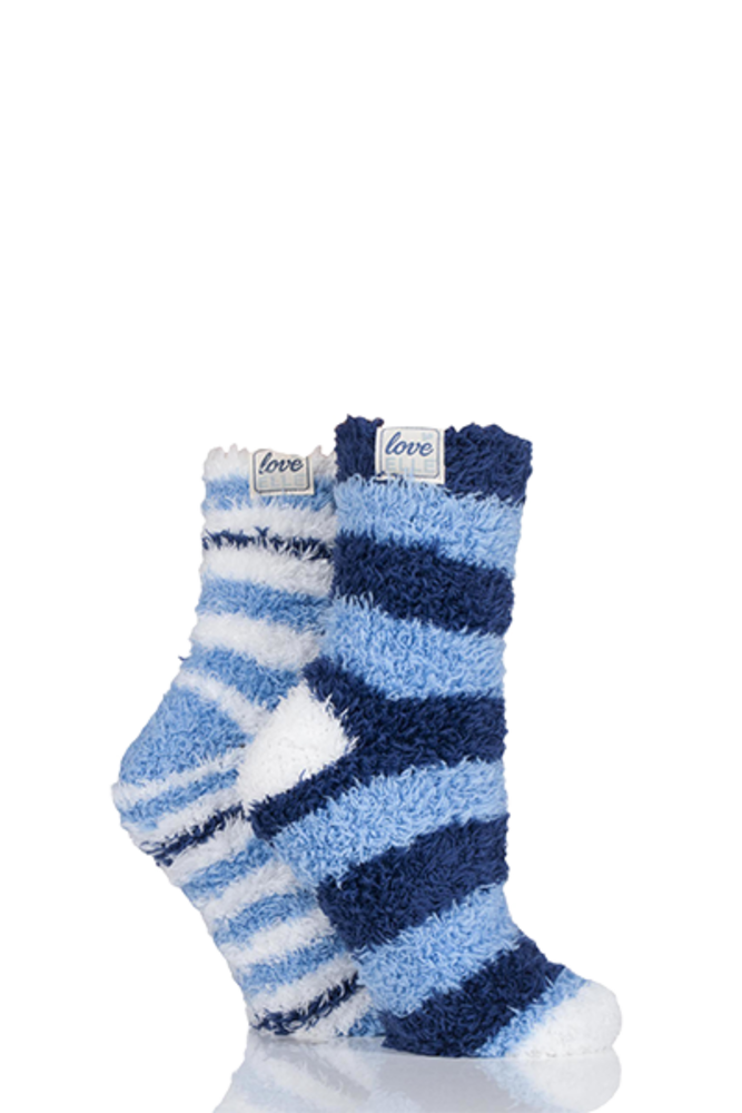 Elle Fluffy and Cosy Blissful Bed Time Socks Deco Blue