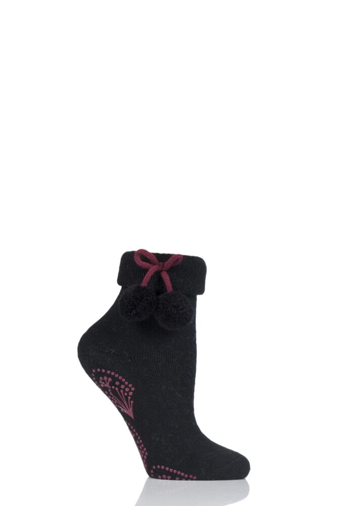Ladies 1 Pair Elle Wool Mix Slipper Socks with Pompoms