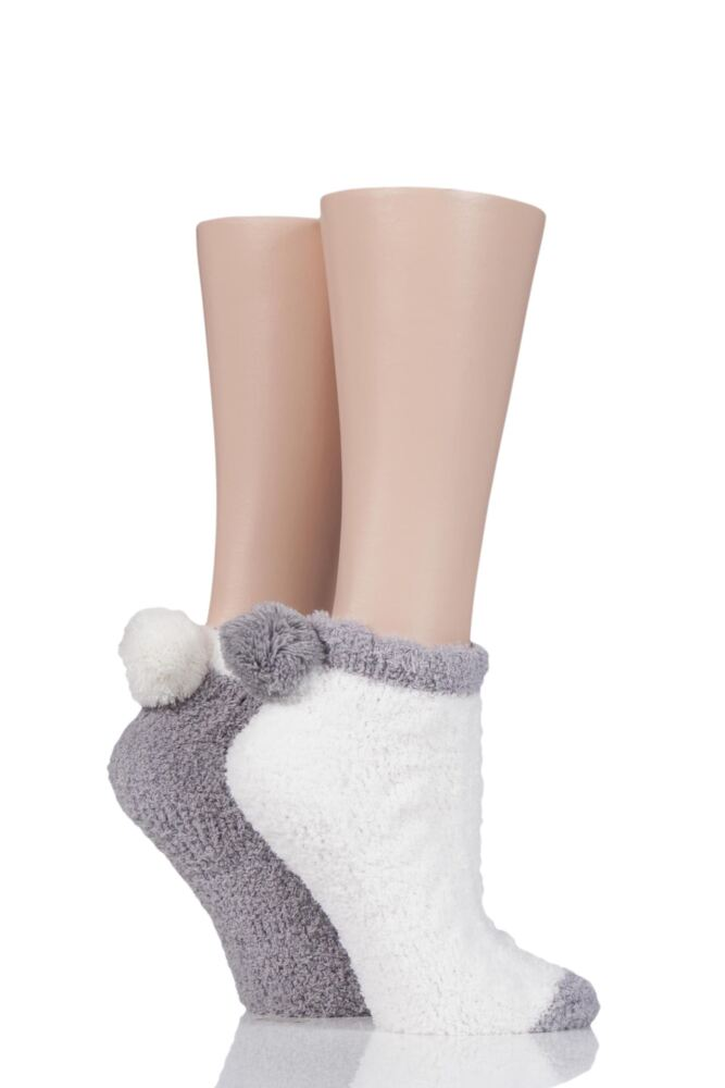Ladies 2 Pair Elle Cable Cosy Anklet Socks with Pom Poms