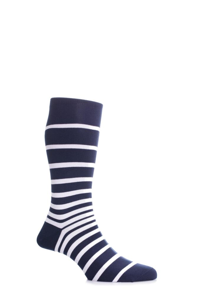 Mens 1 Pair Pantherella Sea Island Cotton Portofino Graded Striped Socks 25% OFF