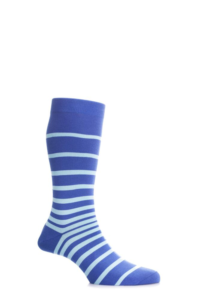 Mens 1 Pair Pantherella Sea Island Cotton Portofino Graded Striped Socks 25% OFF