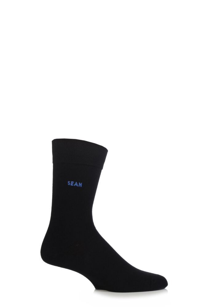 Mens 1 Pair SockShop Individual Black Names Embroidered Socks - 59 Names To Choose From