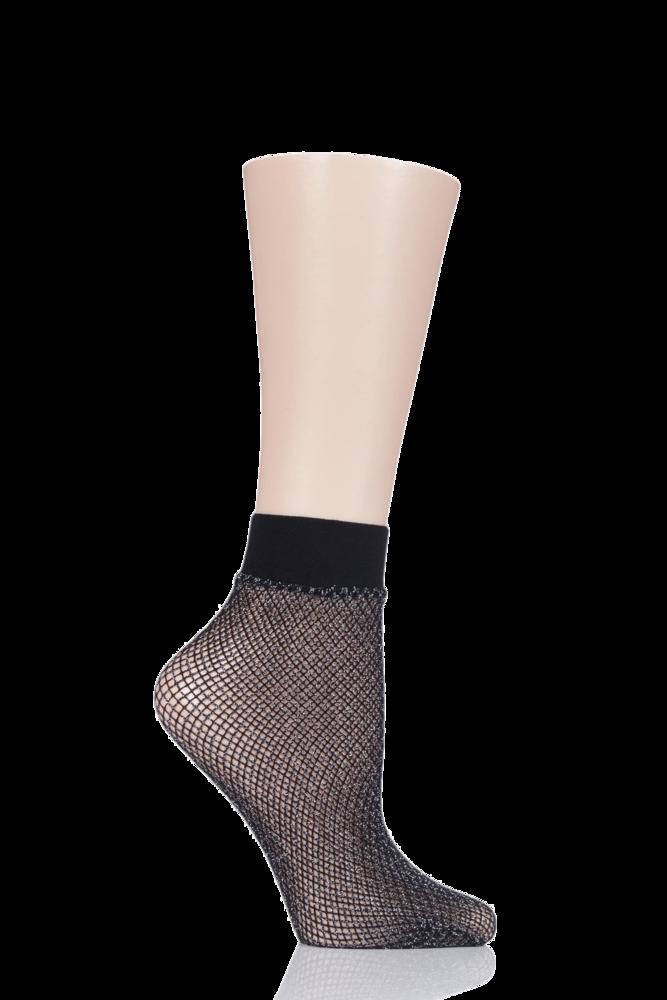 1 Pair Elle Lurex Fishnet Anklet Socks