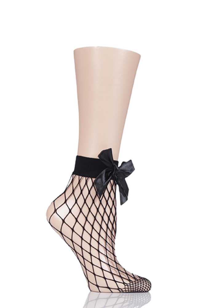 1 Pair Elle Fishnet Anklet Socks Bow