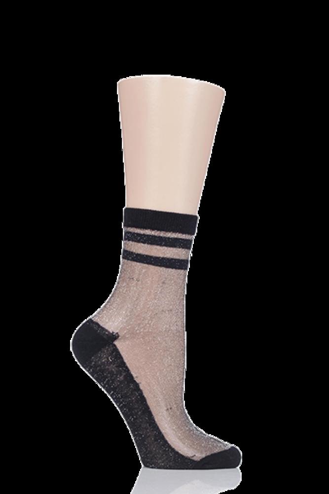 1 Pair Elle Silver Lurex Sporty Anklet Socks
