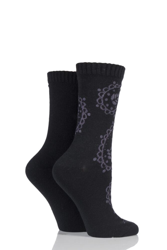 Ladies 2 Pair Elle Paisley Patterned Cashmere Blend Socks