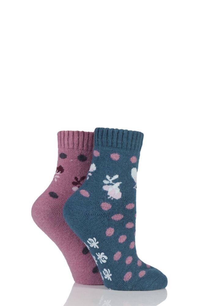 Ladies 2 Pair Elle Wool Blend Spotty Bed and Slipper Socks