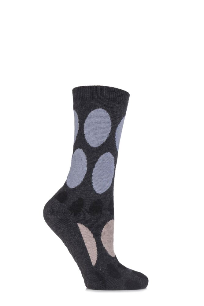 Ladies 1 Pair Elle Wool and Viscose Spotty Slipper Socks