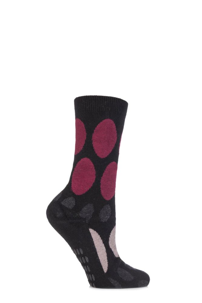 Ladies 1 Pair Elle Wool and Viscose Spotty Slipper Socks