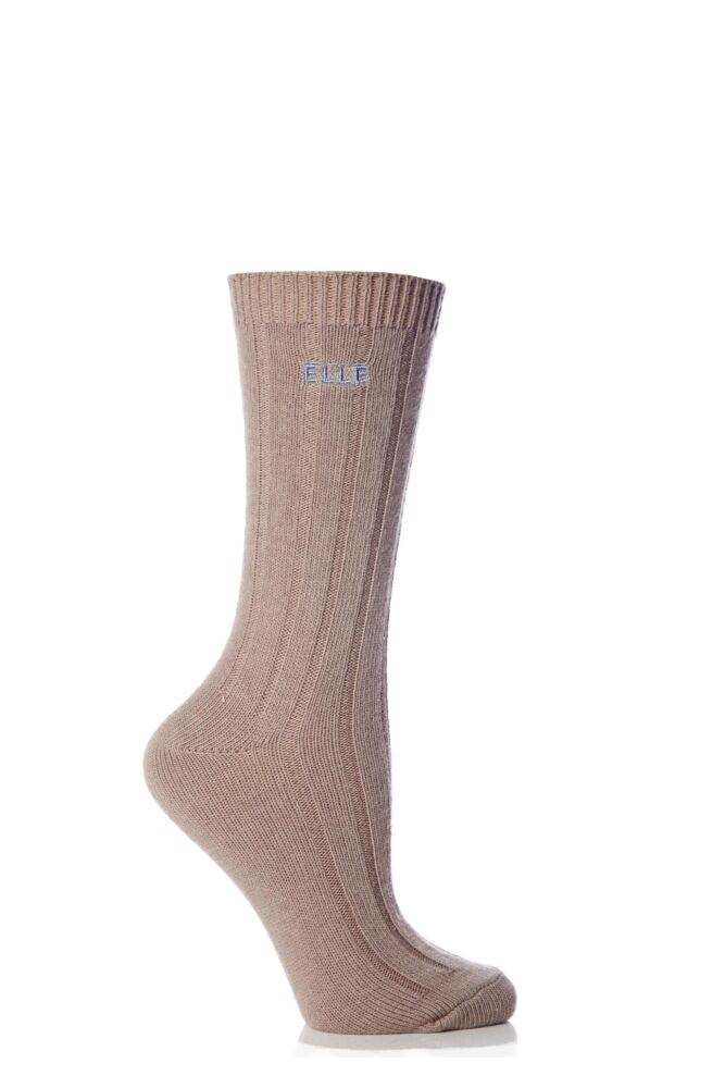 Ladies 1 Pair Elle Wool Ribbed Boot Socks