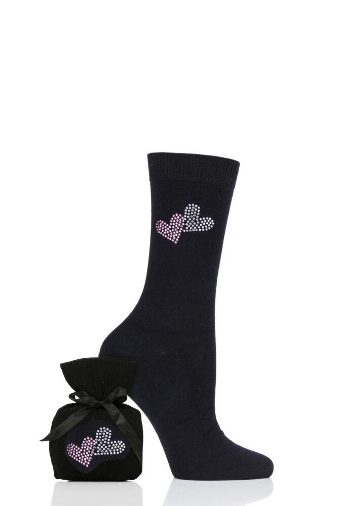 Ladies 1 Pair Elle Diamante Socks