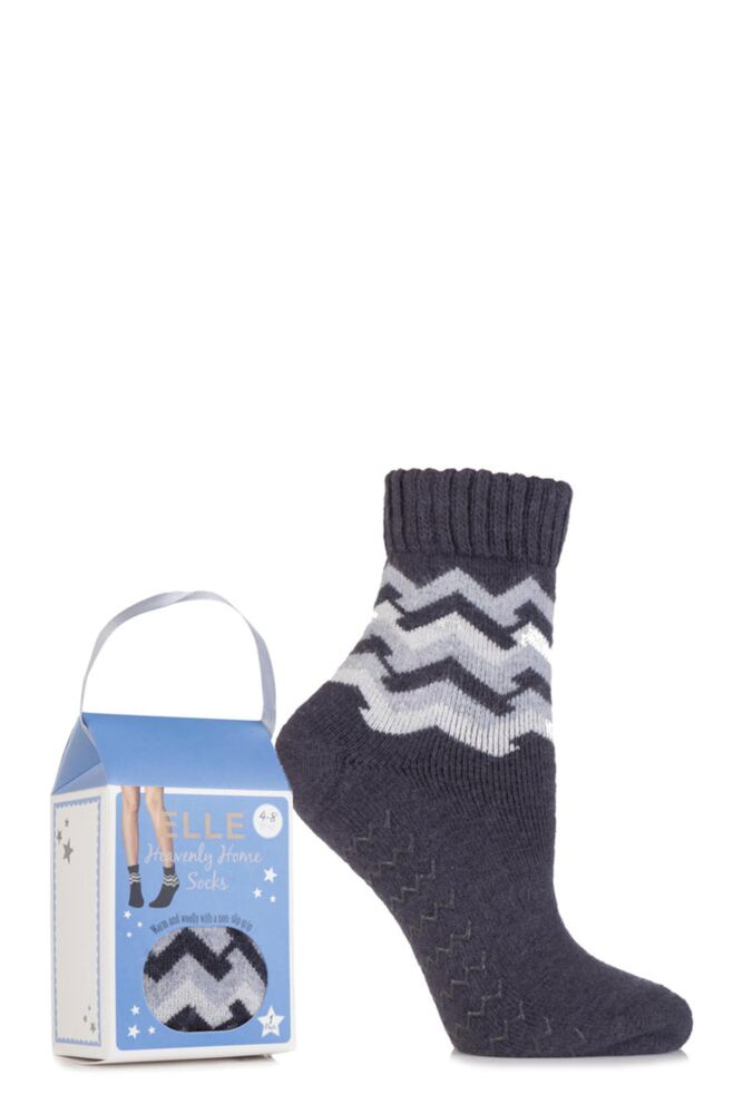 Ladies 1 Pair Elle Gift Boxed Wool Blend Zig Zag Slipper Socks