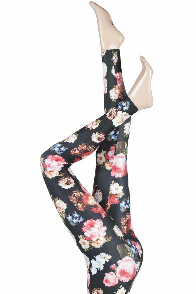 Ladies 1 Pair Silky Floral Patterned Everyday Leggings