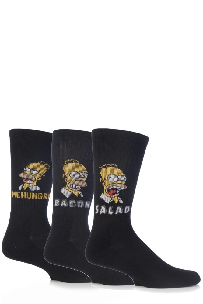 Mens 3 Pair TM The Simpsons Homer Loves Food Socks with Cushioned Sole