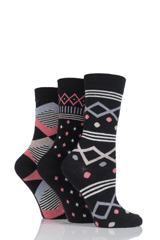 Ladies 3 Pair Jennifer Anderton Patterned Cotton Socks