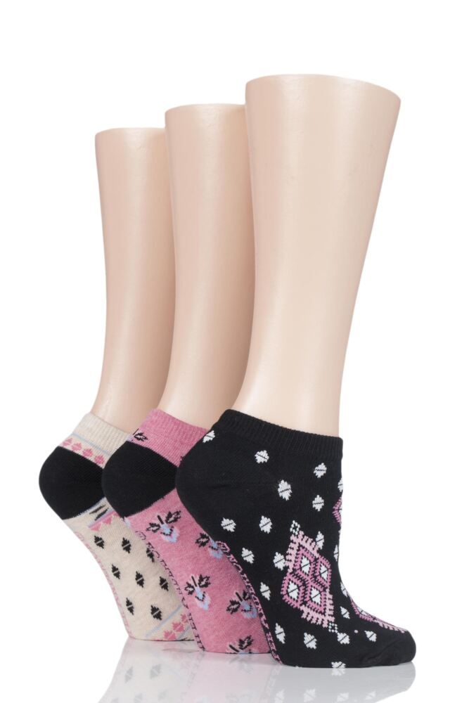 Ladies 3 Pair Jennifer Anderton Patterned Cotton Trainer Socks