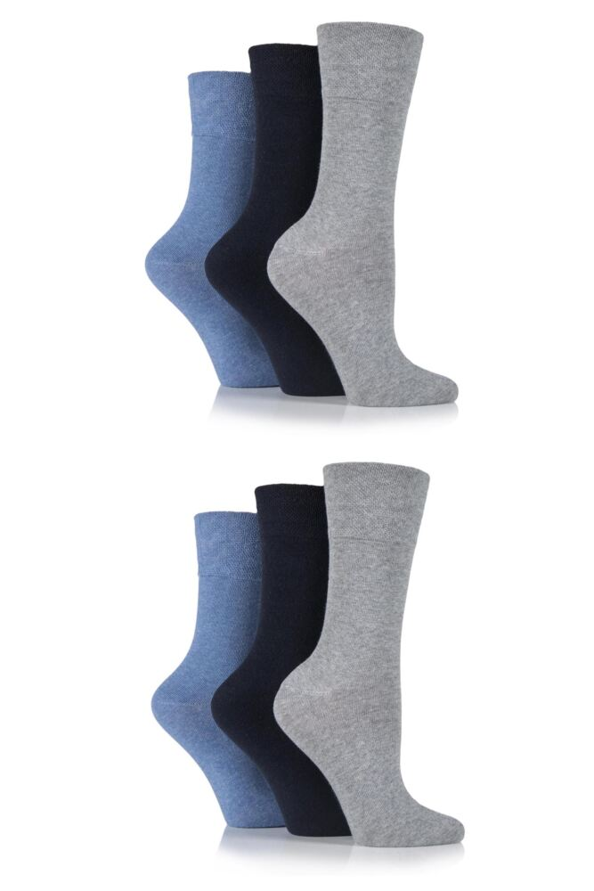 Ladies 6 Pair Gentle Grip Plain Cotton Diabetic Socks