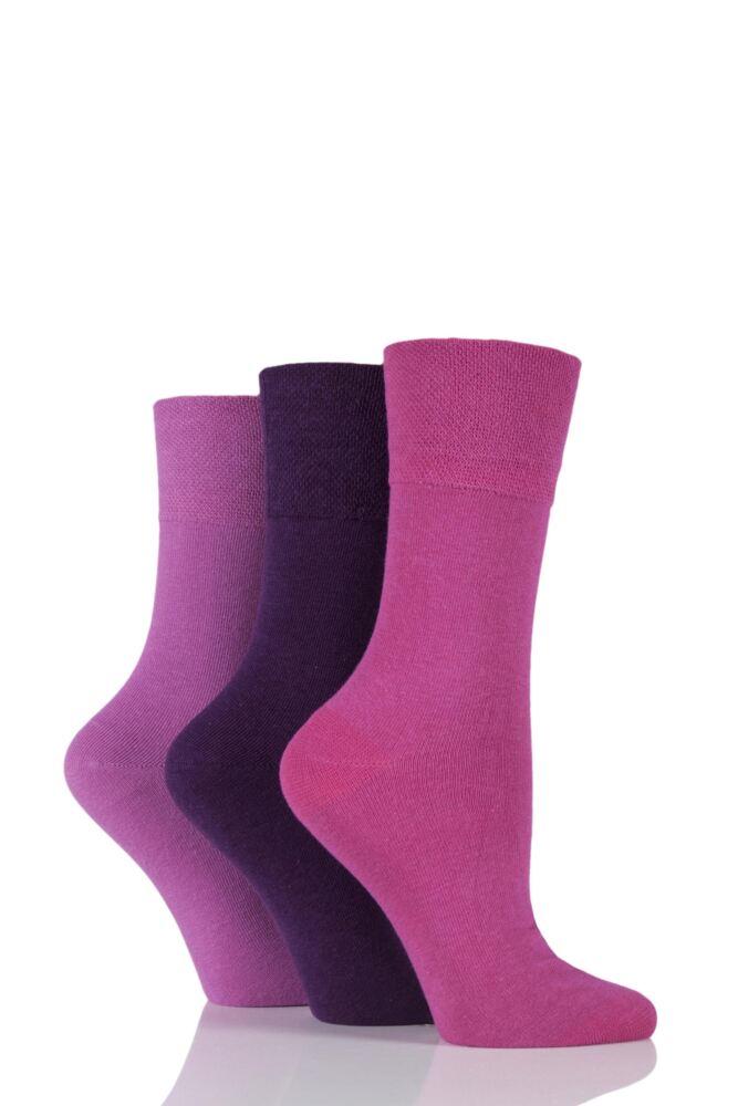 Ladies 3 Pair Gentle Grip Plain Cotton Diabetic Socks
