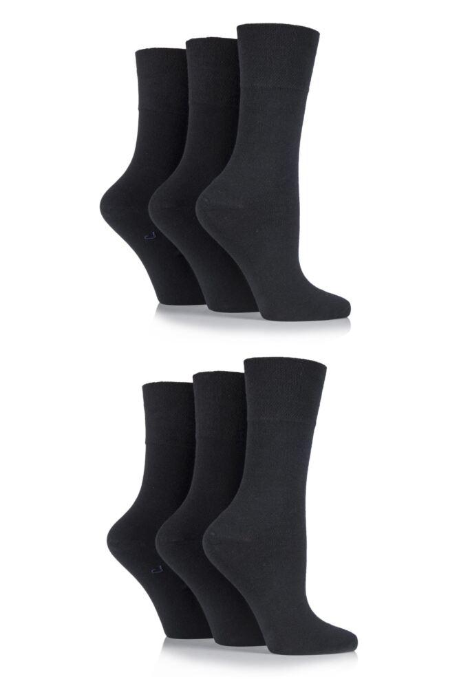 Ladies 6 Pair Gentle Grip Plain Cotton Diabetic Socks