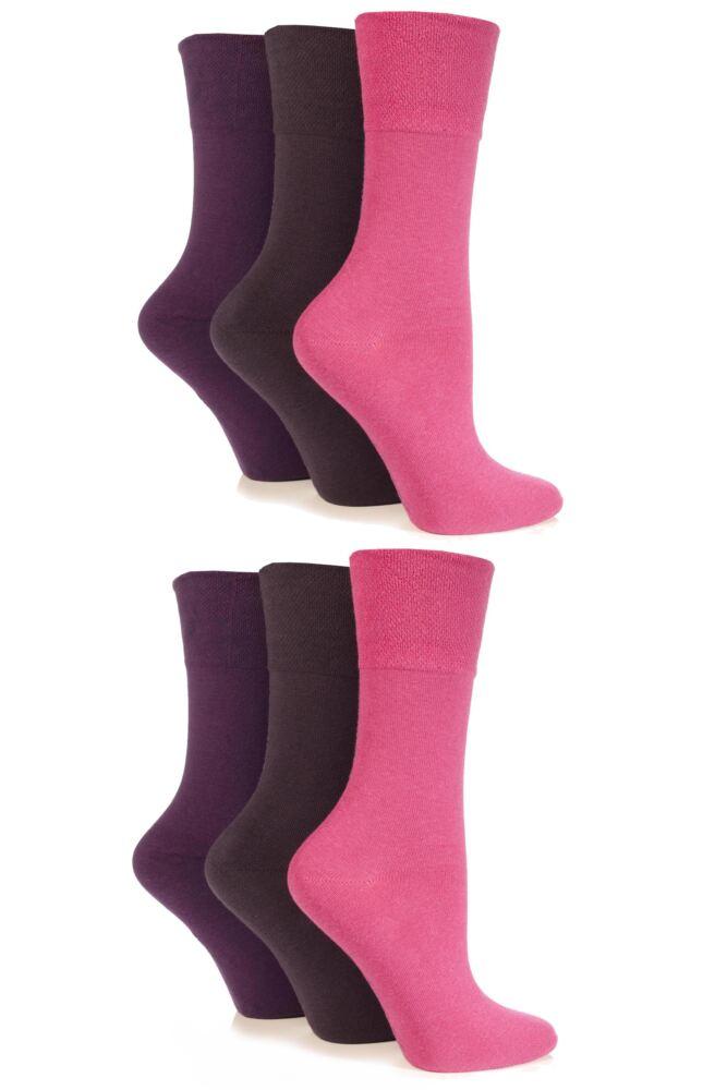 Ladies 6 Pair Drew Brady Comfort Cuff Plain Socks