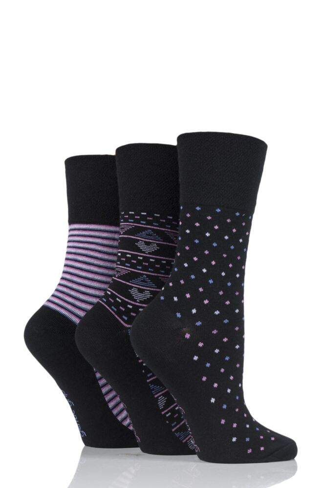 Ladies 3 Pair Gentle Grip Millie Mixed Pattern Cotton Socks