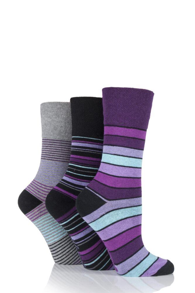 Ladies 3 Pair Gentle Grip Mixed Stripe Socks