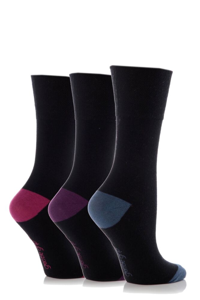 Ladies 3 Pair Gentle Grip Contrast Heel and Toe Socks