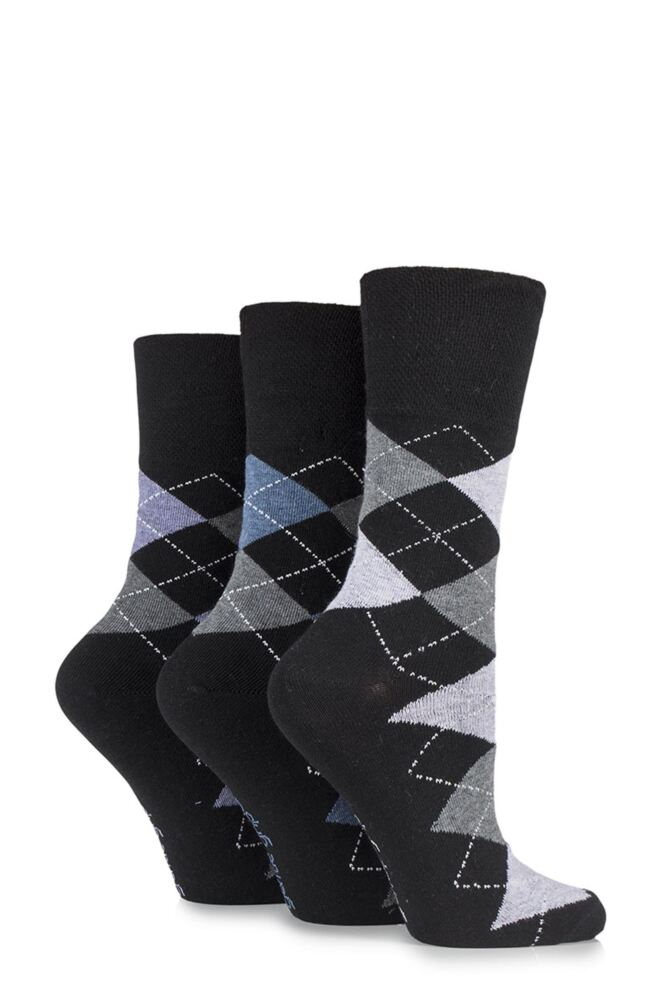 Ladies 3 Pair Gentle Grip Argyle Patterned Cotton Socks