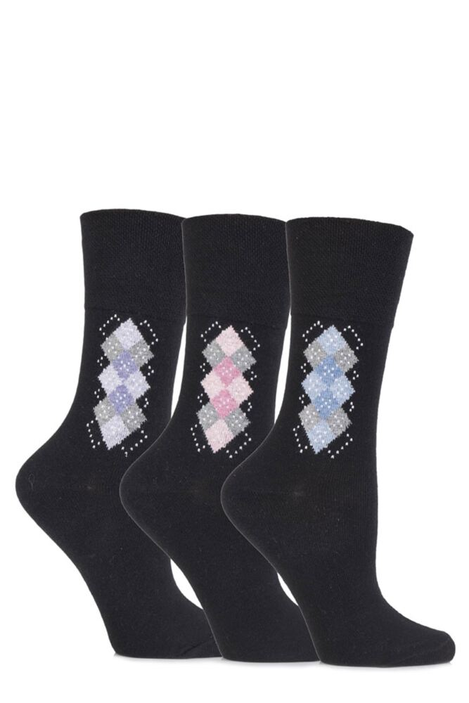 Ladies 3 Pair Gentle Grip Argyle Cotton Socks