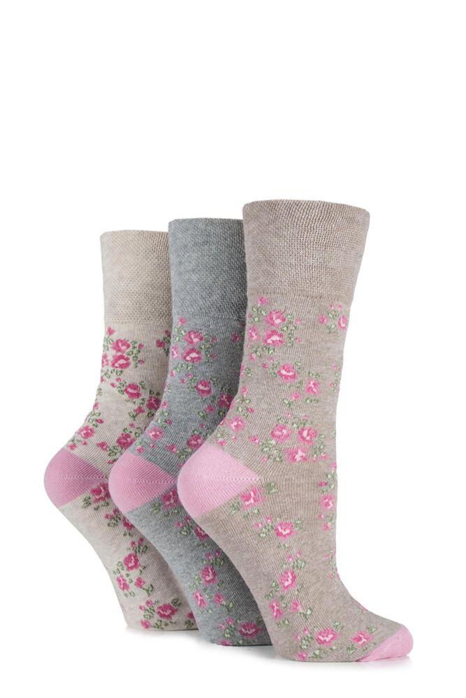 Ladies 3 Pair Gentle Grip Vintage Rose Cotton Socks