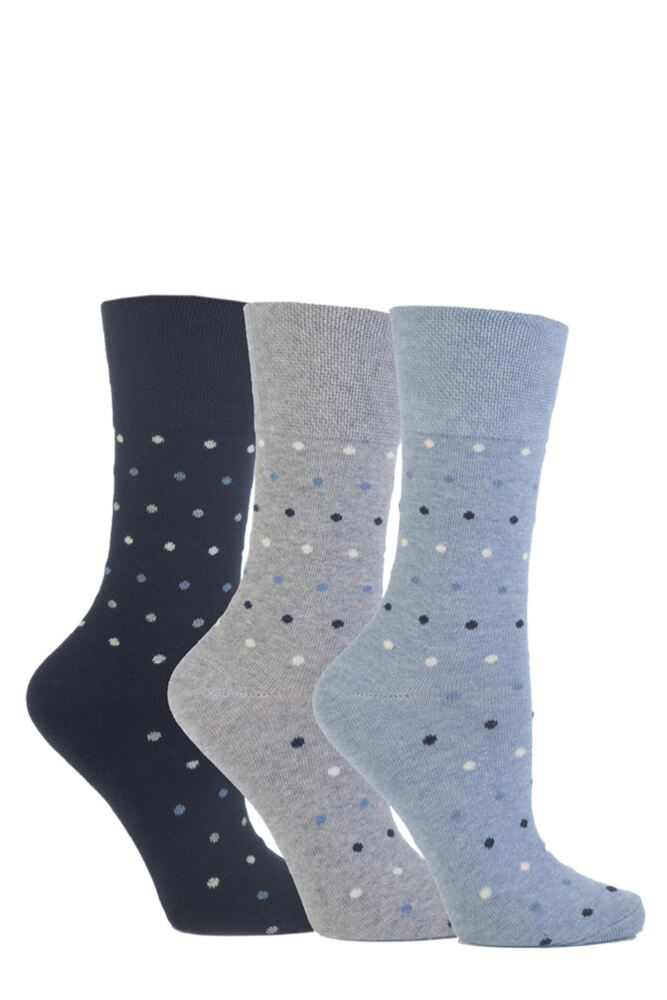 Ladies 3 Pair Gentle Grip Polka Dot Cotton Socks
