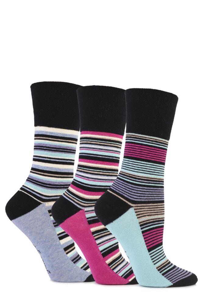 Ladies 3 Pair Gentle Grip Madeline Striped Cotton Socks