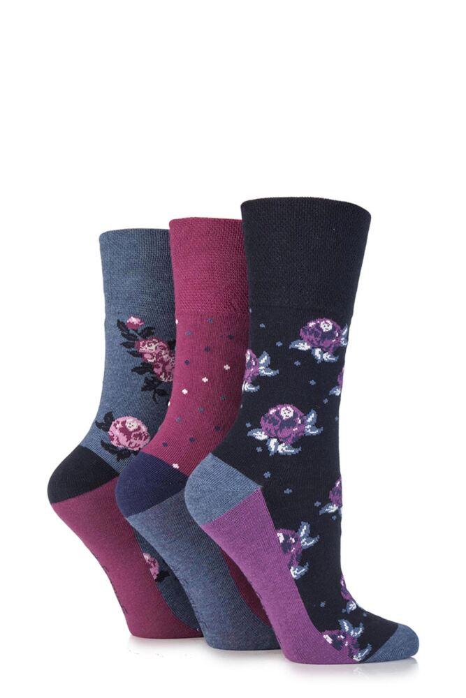 Ladies 3 Pair Gentle Grip Flora Flower Cotton Socks