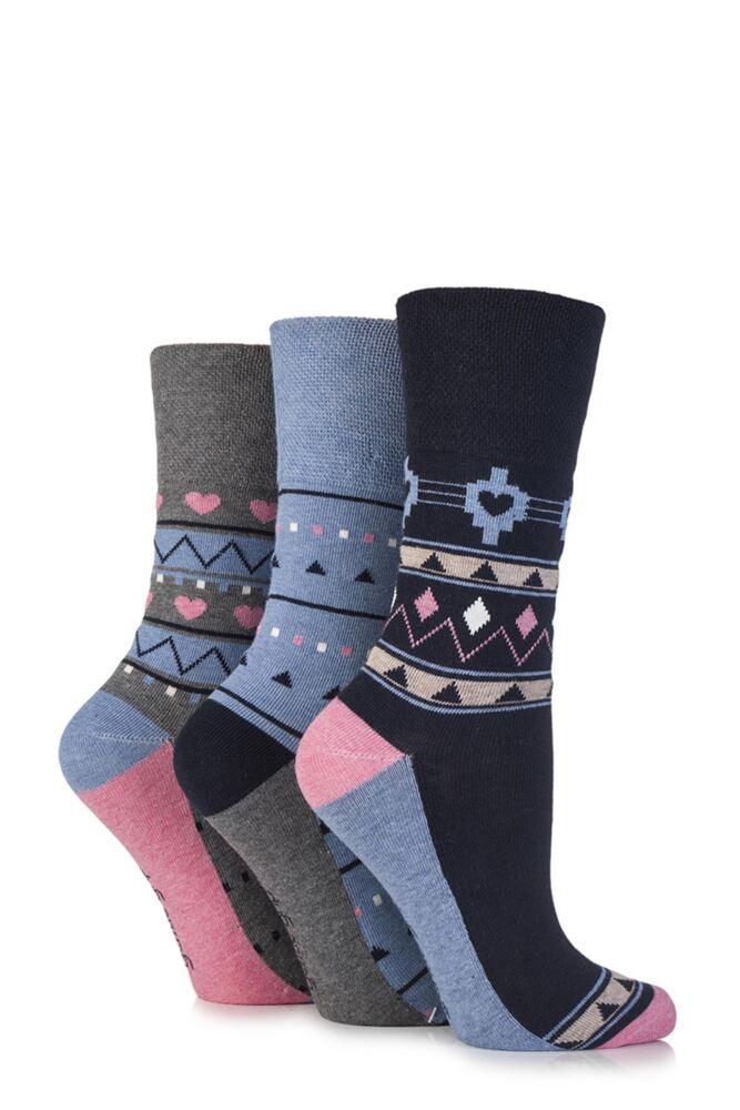 Ladies 3 Pair Gentle Grip Hermione Aztec and Heart Patterned Cotton Socks