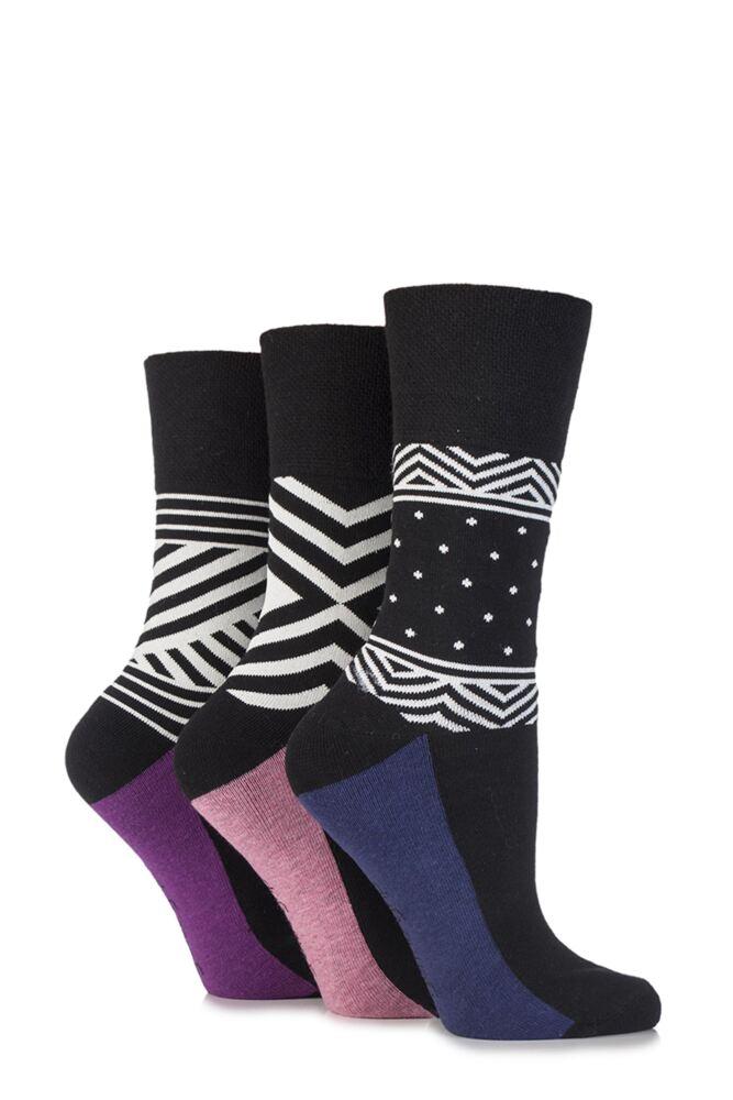 Ladies 3 Pair Gentle Grip Addison Geo Patterned Cotton Socks