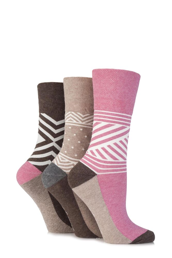 Ladies 3 Pair Gentle Grip Addison Geo Patterned Cotton Socks