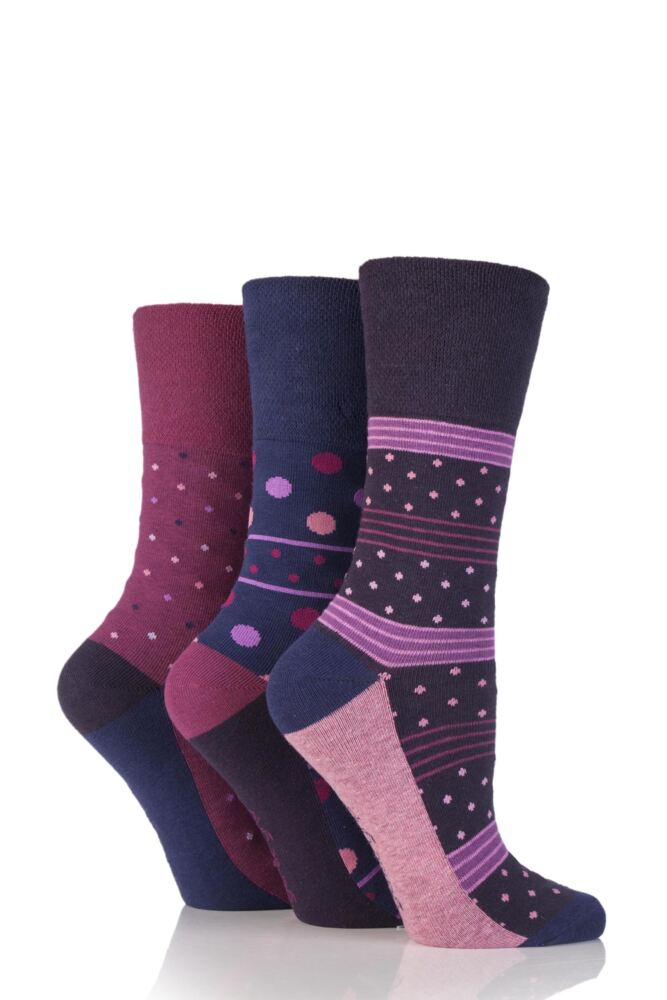 Ladies 3 Pair Gentle Grip Stacey Spotty and Striped Cotton Socks