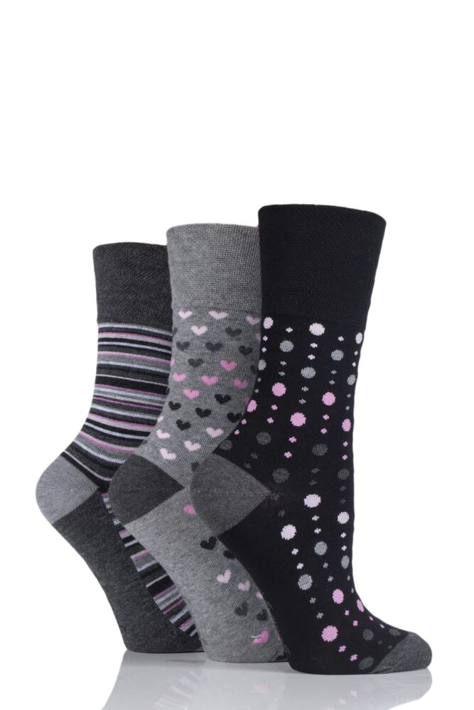 Ladies 3 Pair Gentle Grip Patterned Bamboo Socks
