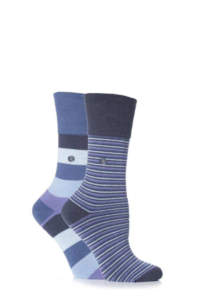Ladies 2 Pair Gentle Grip Darcy Striped Cushioned Socks