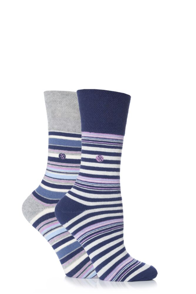 Ladies 2 Pair Gentle Grip Kate Striped Cushioned Socks