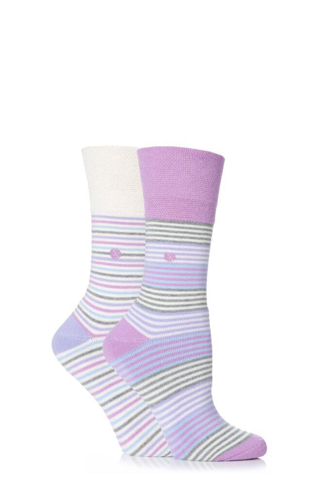 Ladies 2 Pair Gentle Grip Felicity Striped Cushioned Socks