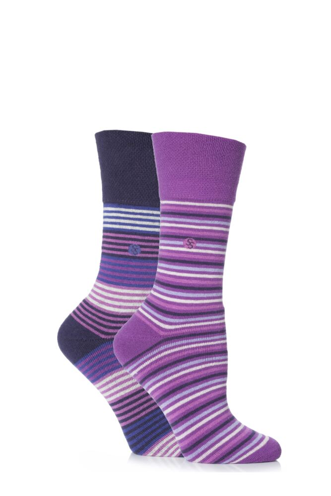 Ladies 2 Pair Gentle Grip Layla Striped Cushioned Socks