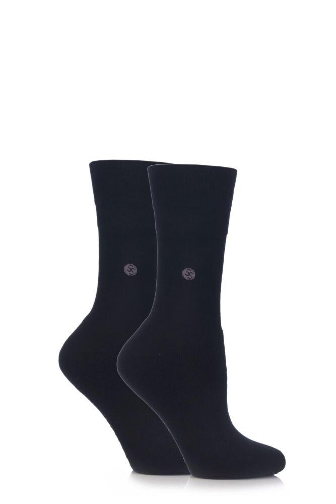 Ladies 2 Pair Gentle Grip Plain Cushioned Socks