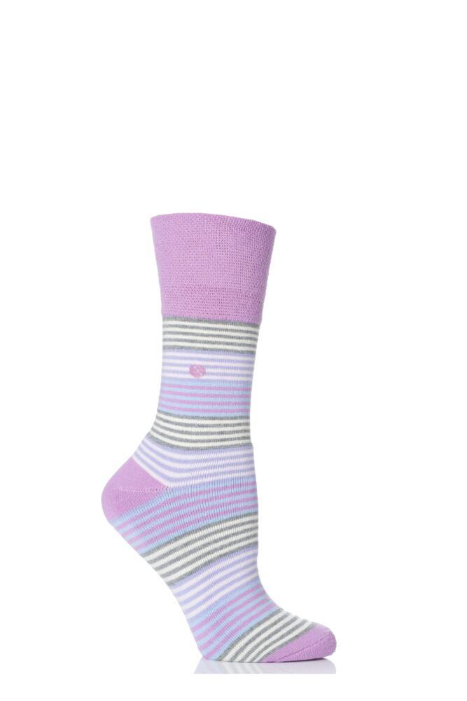 Ladies 1 Pair Gentle Grip Felicity Striped Cushioned Socks
