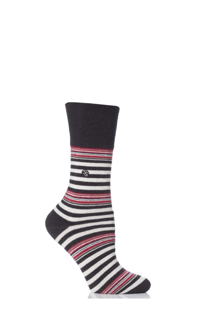 Ladies 1 Pair Gentle Grip Juliet Striped Cushioned Socks