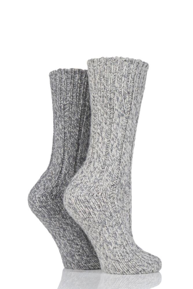 Ladies 2 Pair SockShop Ribbed Wool Boot Socks with Smooth Toe Seams