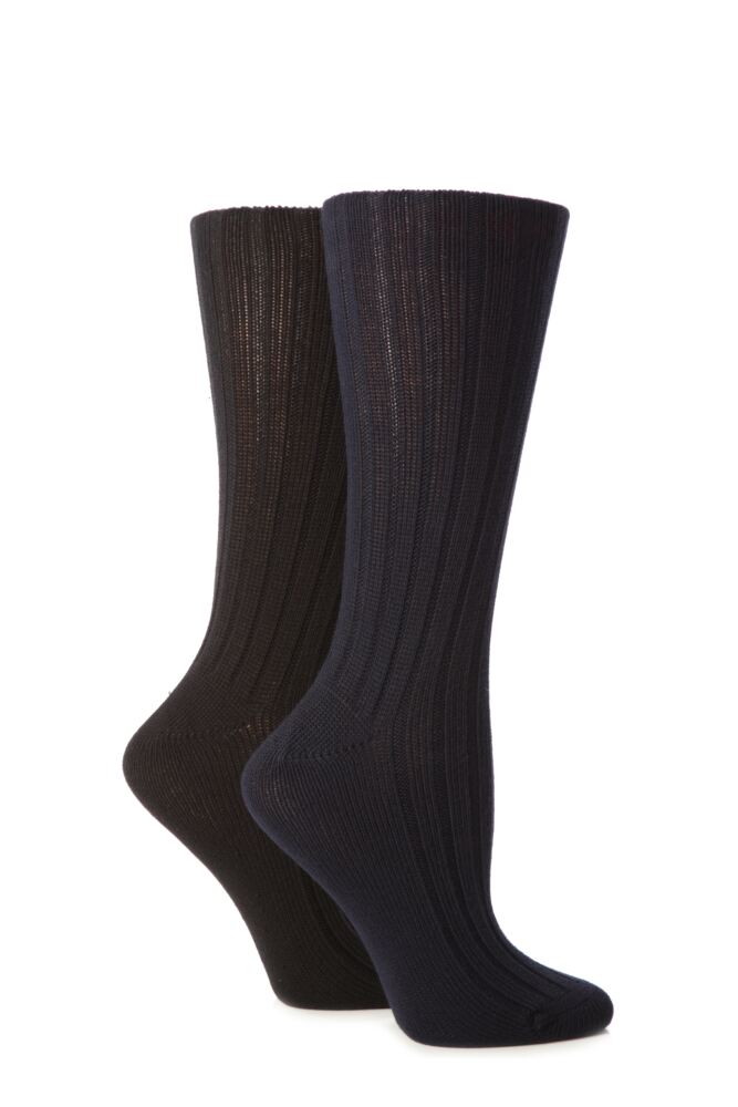 Ladies 2 Pair Jennifer Anderton Plain Ribbed Boot Socks 25% OFF This Style